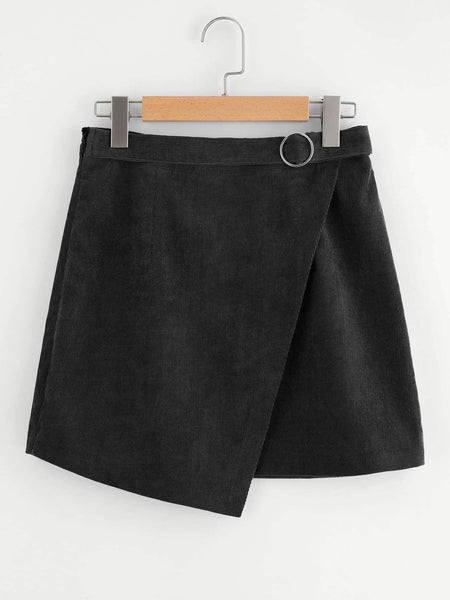Black Corduroy Wrap Mini Skirt