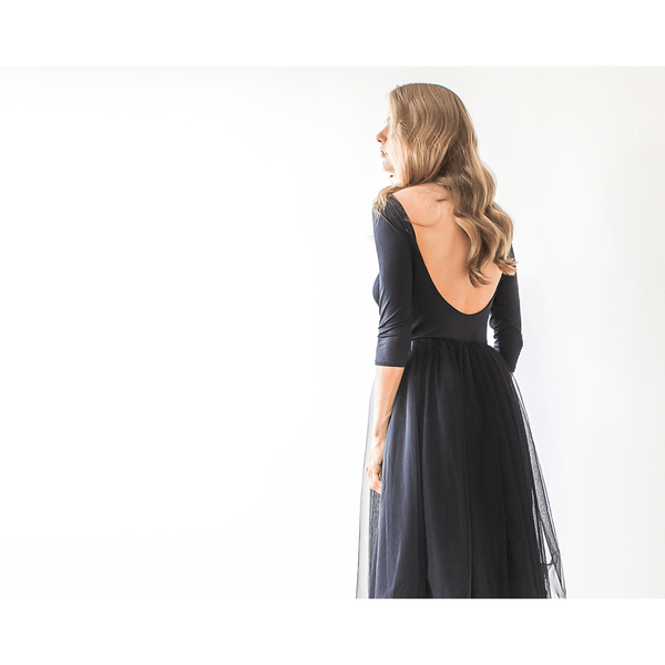 Backless Black Maxi Tulle Gown