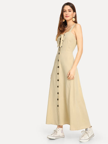 Cocktail & Party Dresses - Women's Trendy Apricot Single Breasted Lace Up Dress