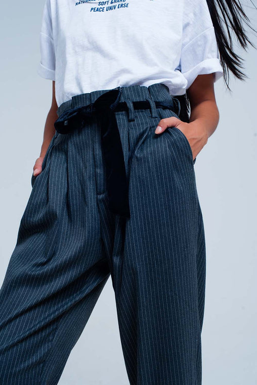 Grey High Waist Striped Trouser