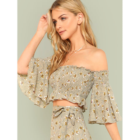 Blouses - Women's Trendy Multicolor Off Shoulder Flounce Sleeve Ruffle Bardot Top