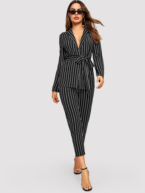 Black and White Striped Top & Pant Set