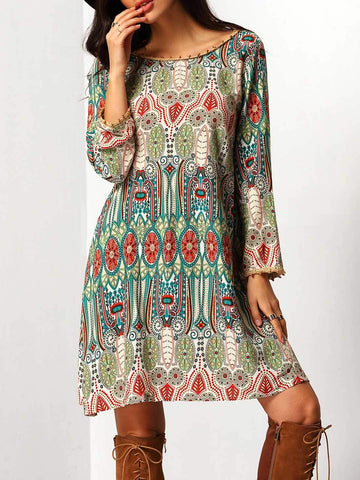 Multicolor Aztec Print V Back Shift Dress