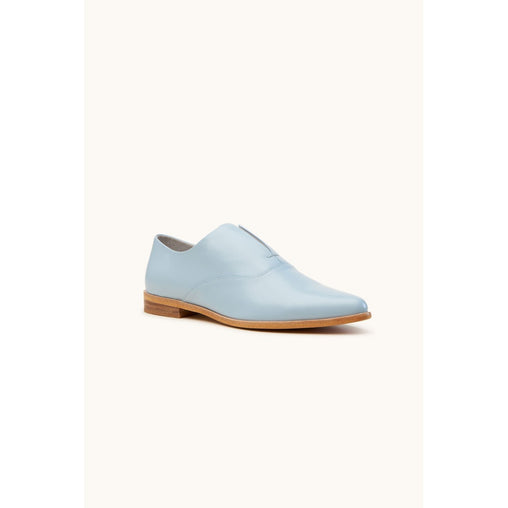 Blue Soft Leather Flat Shoes