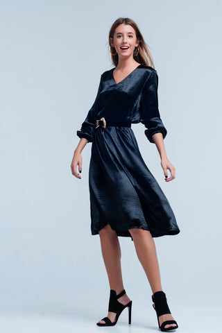 Day Dresses - Women's Trendy Black Midi Shiny Dress