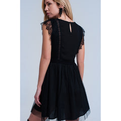 Black Crew Neck Sleeves Pleated Midi Dress - Fashiontage