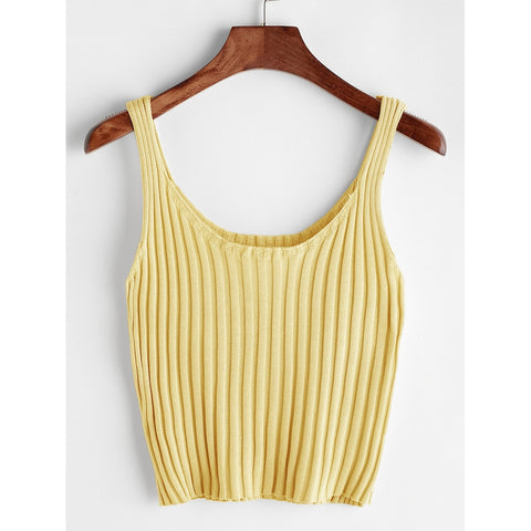 Yellow Ribbed Tank Top