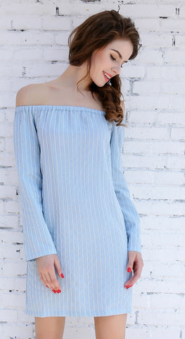 Day Dresses - Women's Trendy Blue Midi Casual Dress