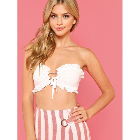 White Strapless Ruffle Trim Bandeau Top