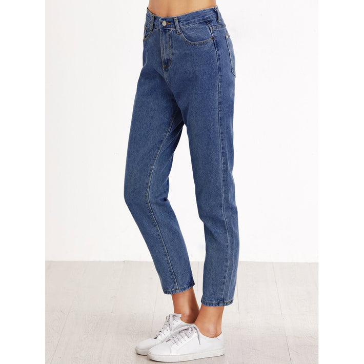 Blue High Waist Regular Straight Leg Jeans - Fashiontage