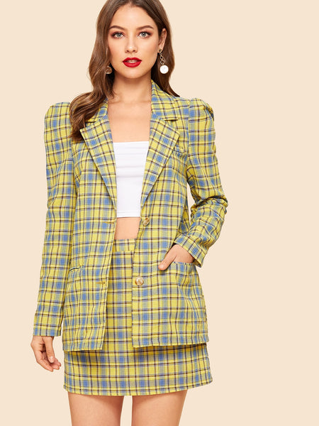 Yellow Puff Sleeve Plaid Coat & Skirt Set