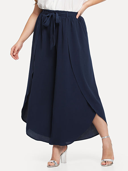 Plus Size Navy Self Belted Solid Wide Leg Pants