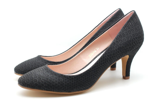 Snake Pattern Dress Pumps (Black)