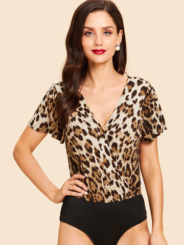 Casual Dresses - Women's Trendy Multicolor Deep Vneck Twist Leopard Print Dress