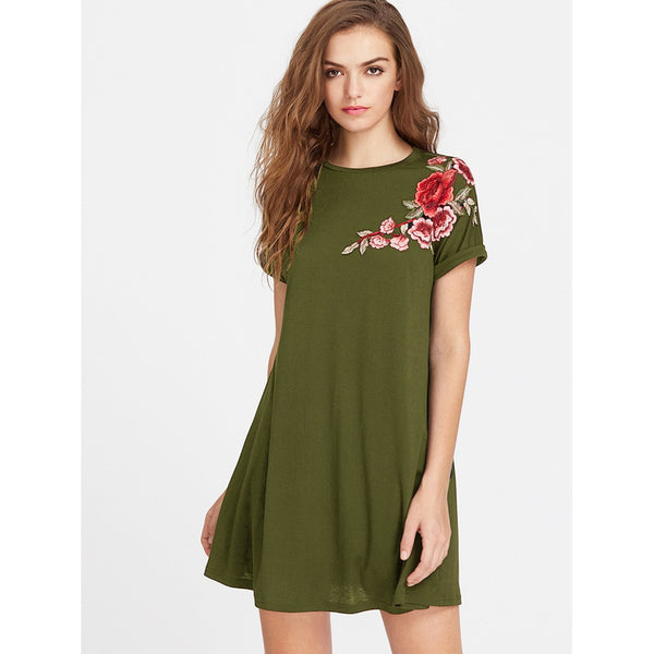 Army Green Round Neck Short Sleeve Shift Dress