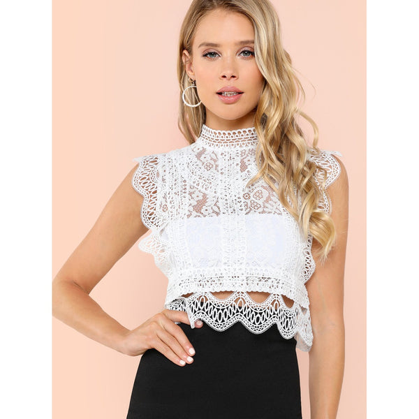 White Sheer Lace High Neck Crop Top