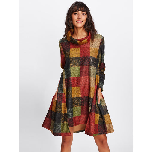 Multicolor Funnel Neck Checked Swing Dress