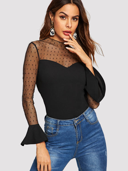 Black Mesh Yoke Flare Party Top