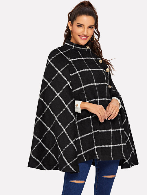 Black Button Front Plaid Cape