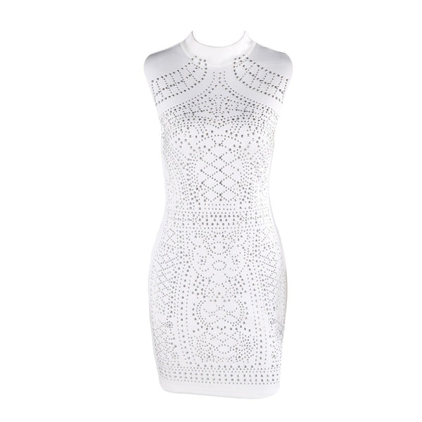 Black & White Sleeveless Geometric Party Dress