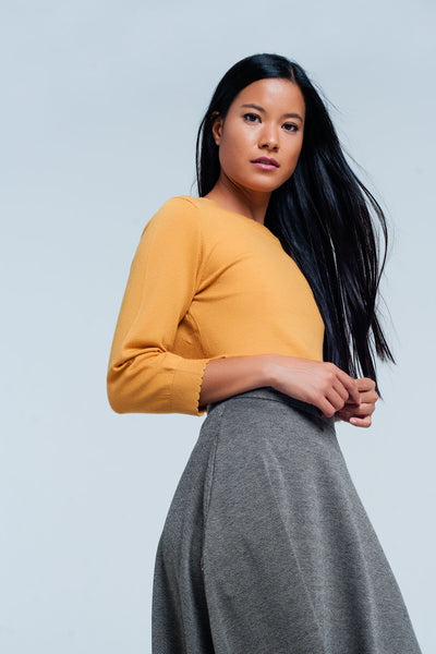 Yellow Sleeves Mini Sweater