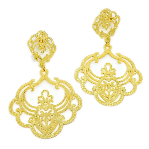 Rrp €140 Emporio Armani Dangle Earrings Leaves Details Post Back Closure Jewelry & Watches