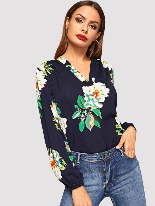 Navy Blue V Neck Floral Print Top