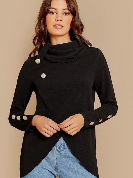 Black Cowl Neck Long Sleeve Top