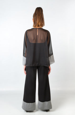 Shirts - Women's Trendy Black Chiffon Blouse