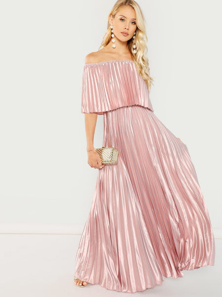 Pink Off Shoulder Pleated Dress