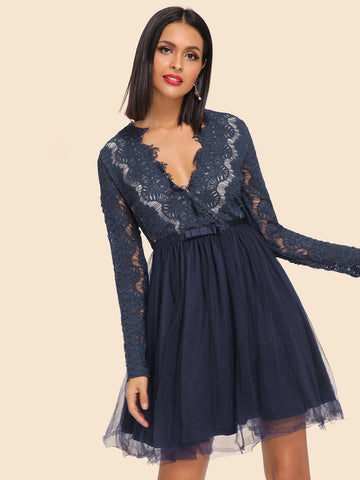Formal Dresses - Women's Trendy Navy Deep V-Neck Mesh Sheer Dress