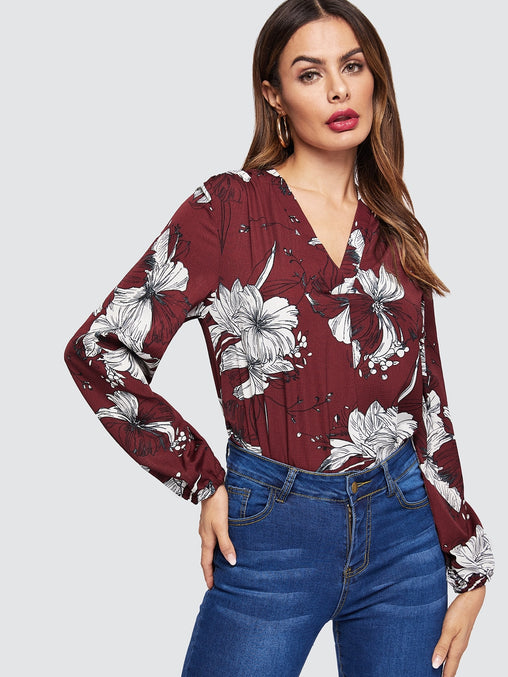Burgundy V-neck Floral Print Top