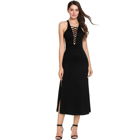 Formal Dresses - Women's Trendy Black V-Neck Sleeveless Maxi Dress
