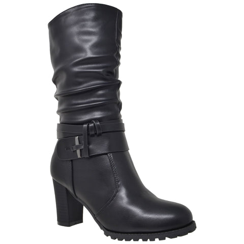 Boots - Women's Trendy Black Straps Ankle Block Heel Boots