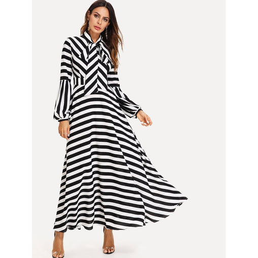 Black And White Bishop Sleeve Tied Neck Striped Flare Dress