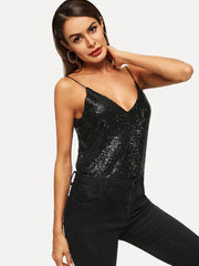 Black V Neck Sequin Party Top
