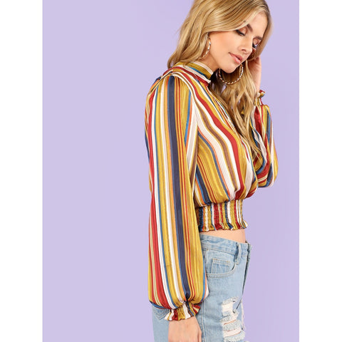 Sweatshirts - Women's Trendy Multicolor Keyhole Neck Split Tie Back Top