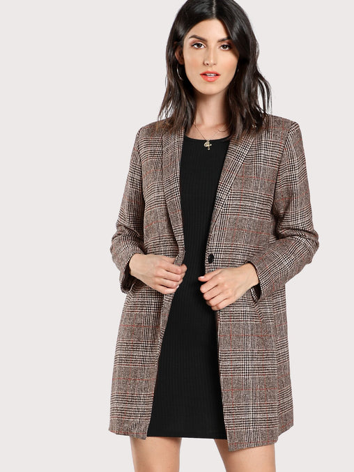 Single Breasted Plaid Boxy Coffee Blazer