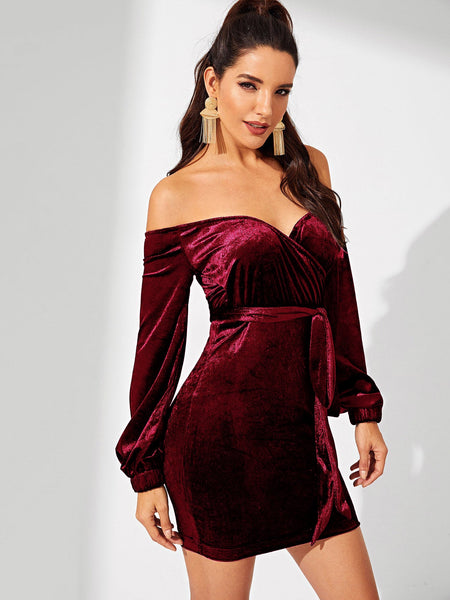 Burgundy Velvet Bardot Short Dress