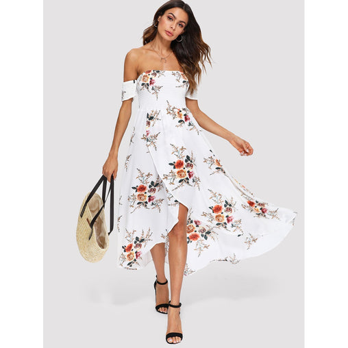 Beige Surplice Wrap Off Shoulder Floral Print Dress
