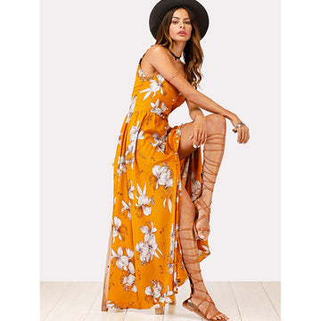 Ginger Deep V-Neck Sleeveless Faux Pearl Floral Maxi Dress