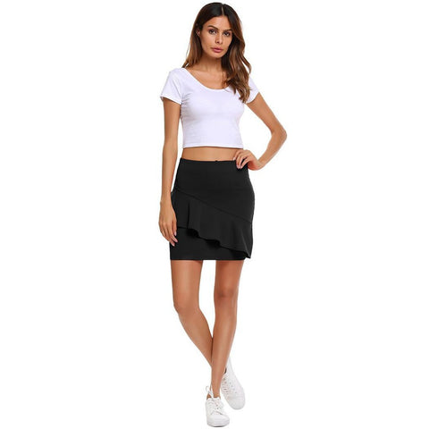 Asymmetric & Draped Skirts - Women's Trendy Black Above Knee Polyester Skirt