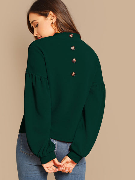 Green Lantern Sleeve Button Detail Back Top