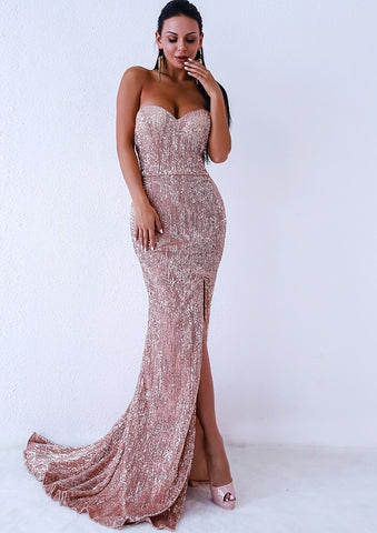 Day Dresses - Women's Trendy Champagne Gold Sequin Gown