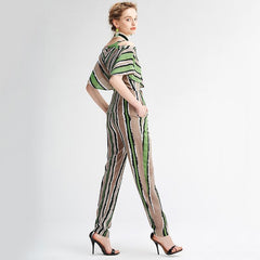 V-Neck Striped Pocket Jumpsuit