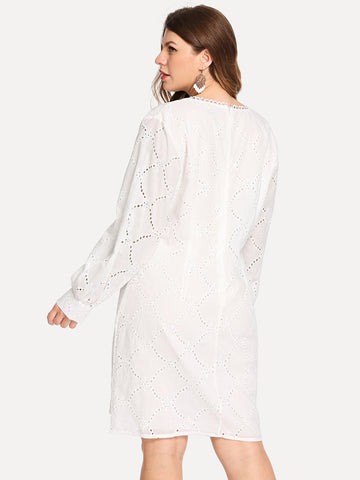 Plus Size Dresses - Women's Trendy Plus Size White Lace Trim Eyelet Embroidered Plunging Dress