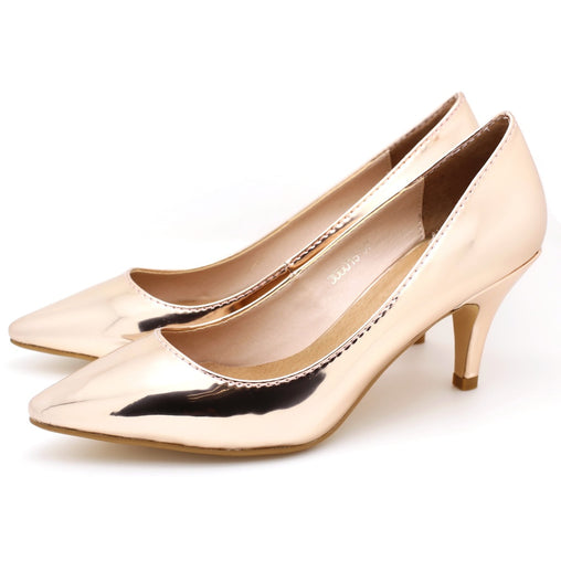 Rose Gold Leather Pointed Toe Pumps