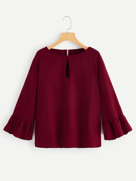 Plus Size Burgundy Bell Sleeve Keyhole Back Top