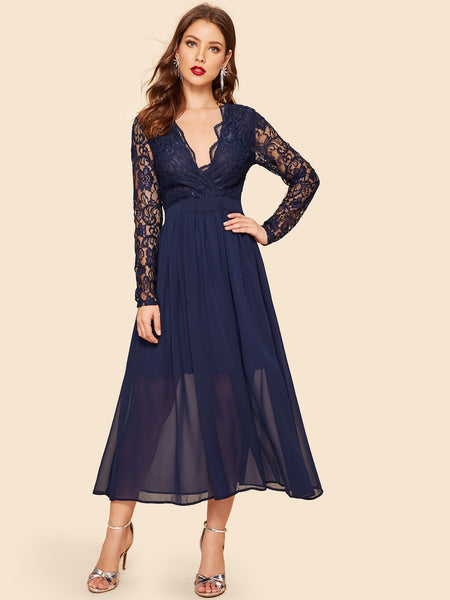 Navy Blue Lace Wrap Fit & Flare  Long Dress