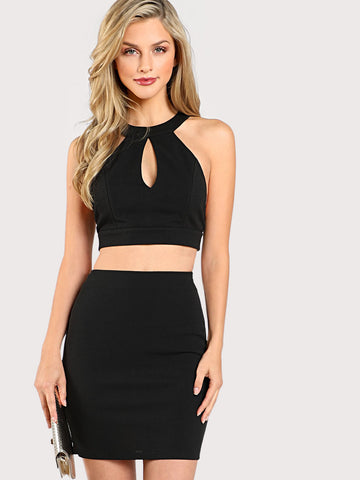 Skirts - Women's Trendy Black Eyelash Lace Open Back Crop Top And Bodycon Skirt Set